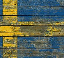 Flag of Sweden on Rough Wood Boards Effect by Jeff Bartels