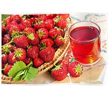 red strawberries in basket Poster