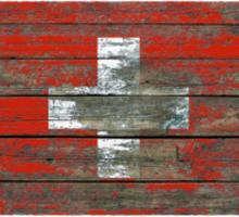 Flag of Switzerland on Rough Wood Boards Effect Sticker