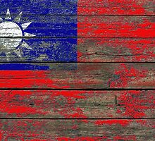 Flag of Taiwan on Rough Wood Boards Effect by Jeff Bartels