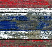 Flag of Thailand on Rough Wood Boards Effect by Jeff Bartels