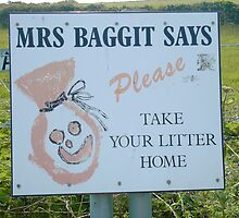 Mrs Baggit says Take Your Litter Home by ruthmarler