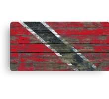Flag of Trinidad and Tobago on Rough Wood Boards Effect Canvas Print