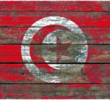 Flag of Tunisia on Rough Wood Boards Effect Sticker