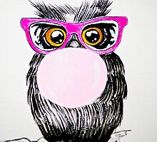 Happy chewing gum owl by Karelle26
