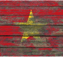 Flag of Vietnam on Rough Wood Boards Effect Sticker