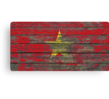 Flag of Vietnam on Rough Wood Boards Effect Canvas Print