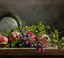 pomegranates with a silver plate by Demetrios Vlachos