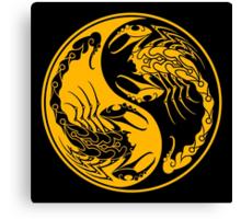 Yellow and Black Scorpions Yin Yang  Canvas Print