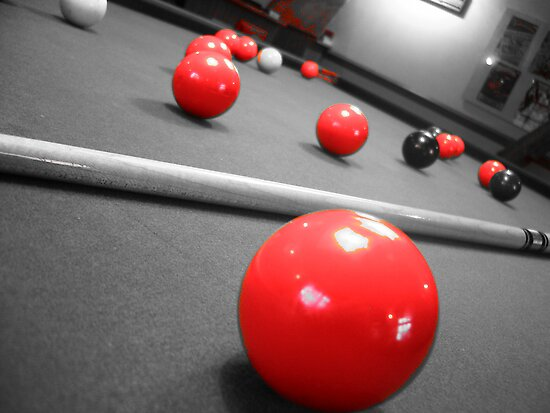 Snooker table with a Red +Black +white filter by Harry Roberts