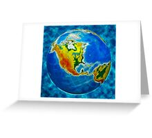 globe, in a center north America Greeting Card