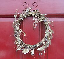 White wreath, red door by Yonmei