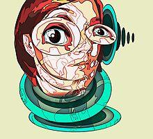 Self Portrait Bust with Fallen Third Eye by Amanda  Van Buren