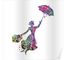 Mary Poppins Silhouette Watercolor Poster