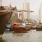 Fishing boat in Hong Kong Harbour by John  Lambert