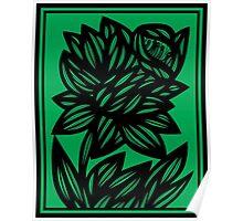 Specchio Daffodil Flowers Green Black Poster