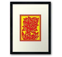 Fingado Daffodil Flowers Yellow Red Framed Print