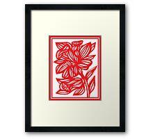 Zerko Daffodil Flowers Red White Framed Print