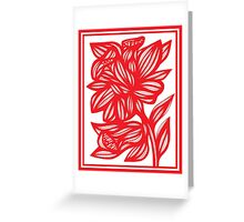 Zerko Daffodil Flowers Red White Greeting Card