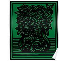 Camano Flowers Green Black Poster