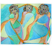Three Women, Abstract Portrait, Cubist Acrylic Painting  Poster