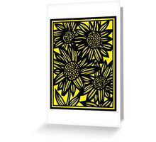 Lucear Flowers Yellow Black Greeting Card