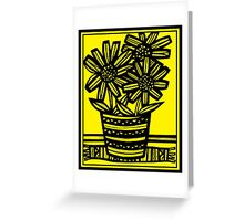 Mannchen Flowers Yellow Black Greeting Card