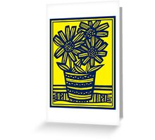 Fogo Flowers Yellow Blue Greeting Card
