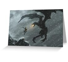 The Elder Scrolls V - Skyrim, Warrior Vs Dragon Greeting Card