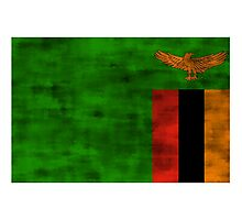 Distressed Zambia Flag Photographic Print