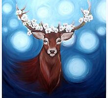 Stag in the night time by Amber Rose