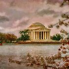 Dawn Over The Jefferson Memorial by Lois  Bryan