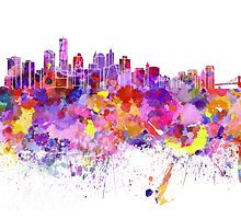 New York skyline in watercolor on white background by paulrommer