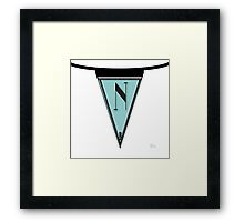 Manhattan Deco Blues 1920s Monogram Banner...letter N Framed Print
