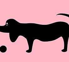 Dog Silhouette on a Pink Background by Jacqueline Turton