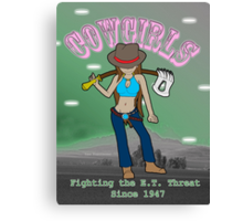 Cowgirls Fighting the E.T. Threat Canvas Print
