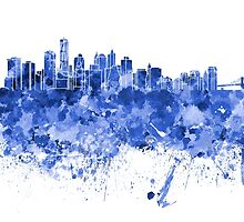 New York skyline in blue watercolor on white background by paulrommer
