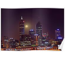 Moonrise Over Perth City  Poster