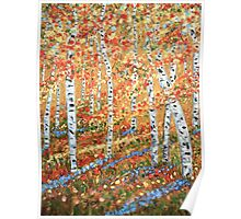 Strolling through the Aspens, Impressionism, wall art, home decor Poster