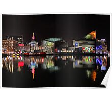 Inner Harbor in Baltimore, Maryland at Night Poster