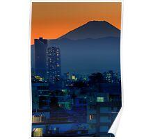 Mount Fuji at sunset; Omori, Shinagawa-ku, Tokyo Poster