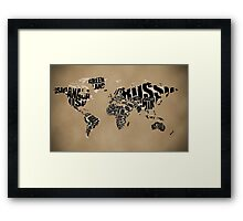 Typographic World Map Framed Print