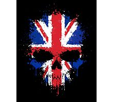 Chaotic Union Jack Flag Splatter Skull Photographic Print