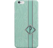 1920s Blue Deco Swing with Monogram letter P iPhone Case/Skin