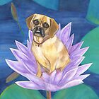 Buddha Dog on a Lotus Blossom by joga