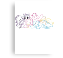 Sleepy Ponies Outlined Canvas Print