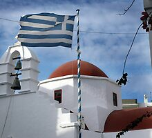 GREEK CHURCH..........GREEK FLAG by Edward J. Laquale