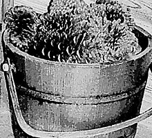 Basket Full of Cones - Pencil Sketch by Lisa Taylor