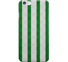 Green and White Stripes Diamond Crosshatch Fabric iPhone Case/Skin