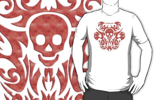 skull tattoo orange by fuxart